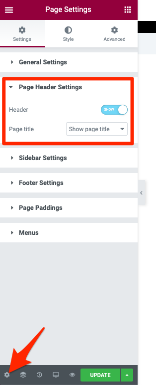 Fig. 1. Page Header Settings. Elementor.