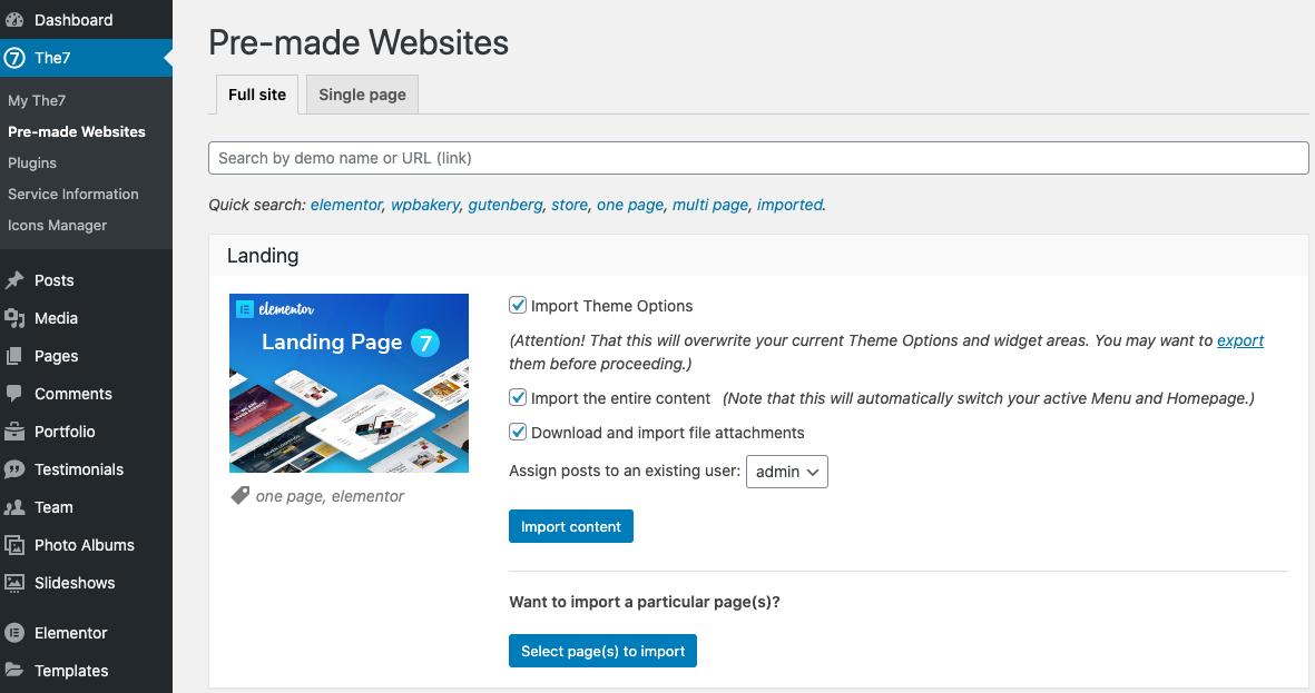 Fig. 5. Website import options.