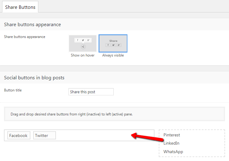 Fig. 1. Adding share buttons.