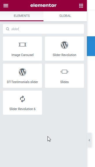 Fig. 1. Slider Elementor widgets.
