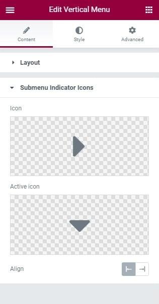 Fig. 2.2. Submenu Indicator Icons.