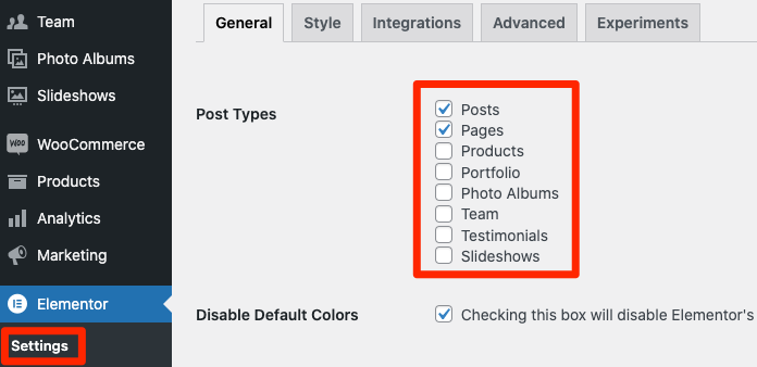 Fig. 2. Enable Elementor for post types.