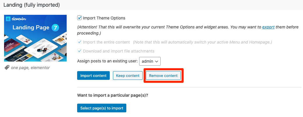Fig. 4. Remove imported content.
