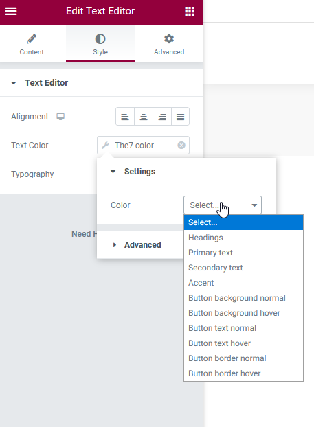 Fig.4.2. Select colors from theme options