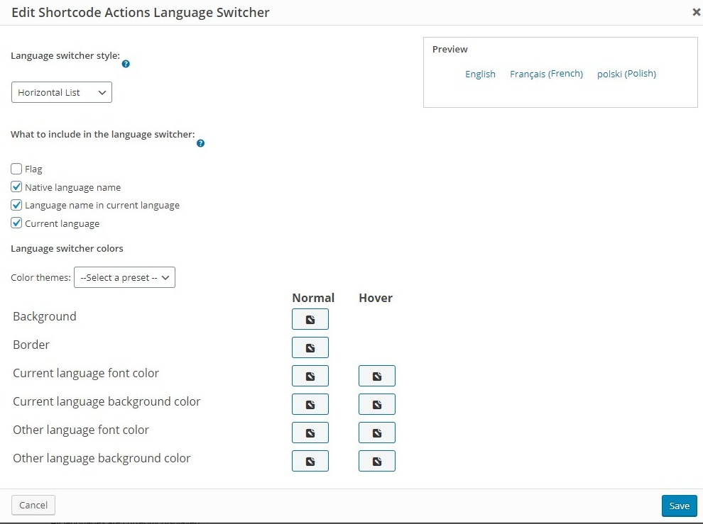 Fig. 1.4. Language switcher settings.