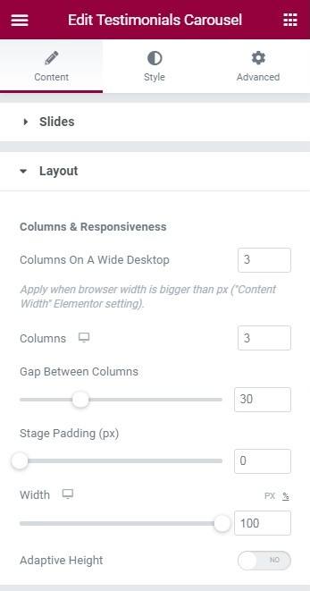 Fig. 3.1. Layout settings.