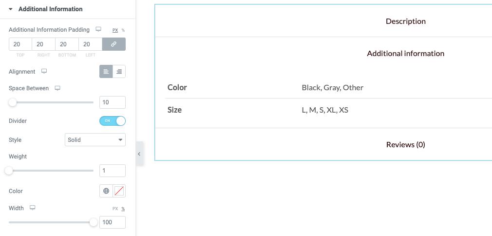 Fig. 7.2. Additional info tab settings.