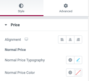 Fig. 2.1. Price settings.