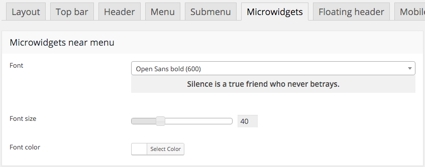 Fig. 9. Microwidget settings.