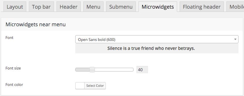 Fig. 9. Microwidget settings.