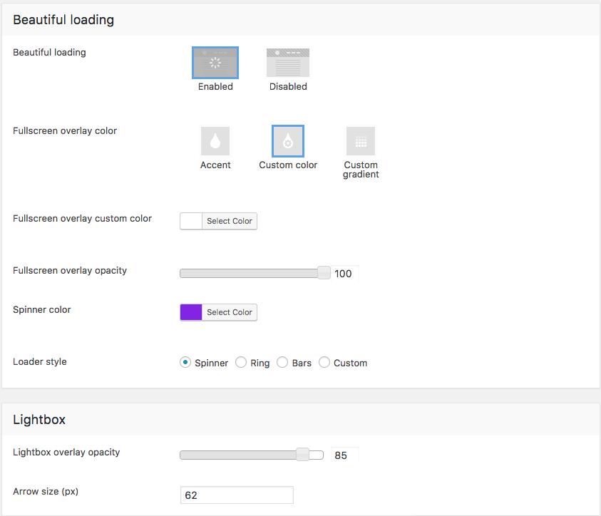 Fig. 3. Beautiful loading and lightbox settings.