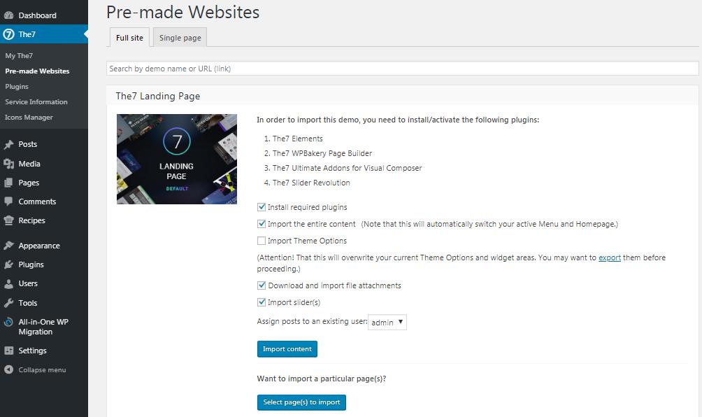 Fig.5. Website import options.