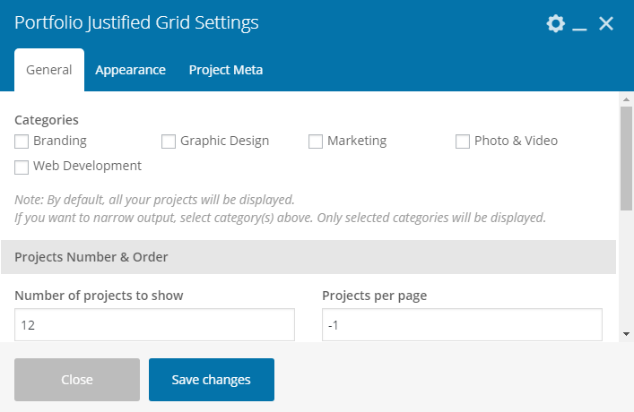 Fig. 3.2. General Portfolio Grid settings.