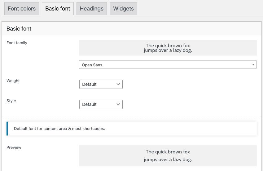 Fig. 2. Basic font settings.