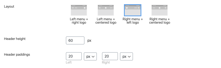 Fig. 9.1. Mobile header layouts.