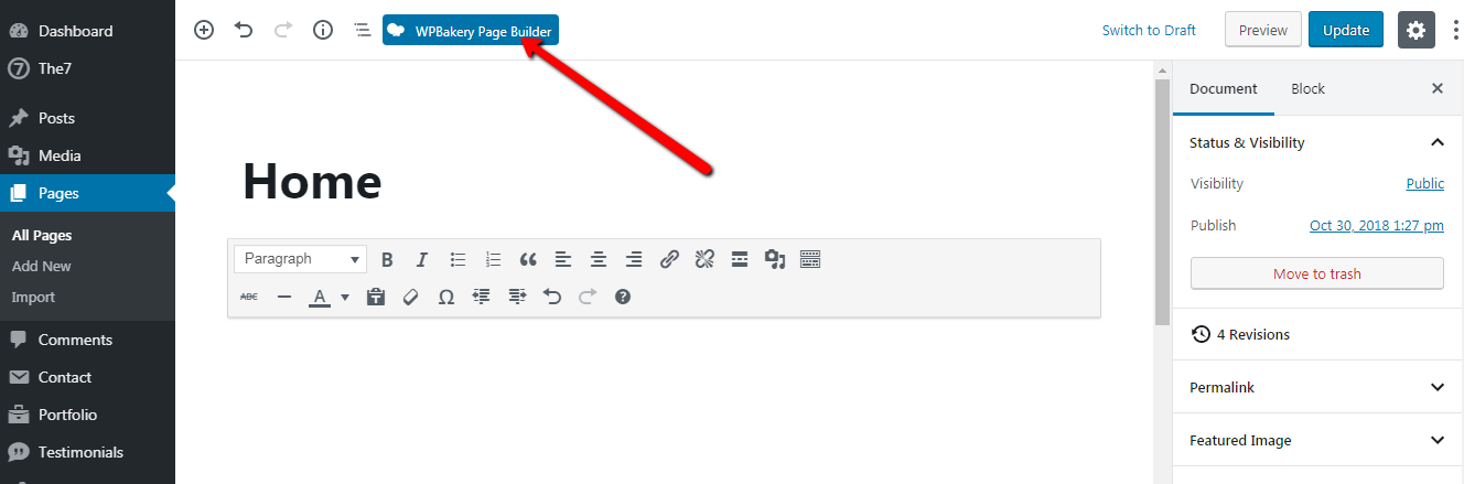 Fig. 1. Enable WPBakery Page Builder.