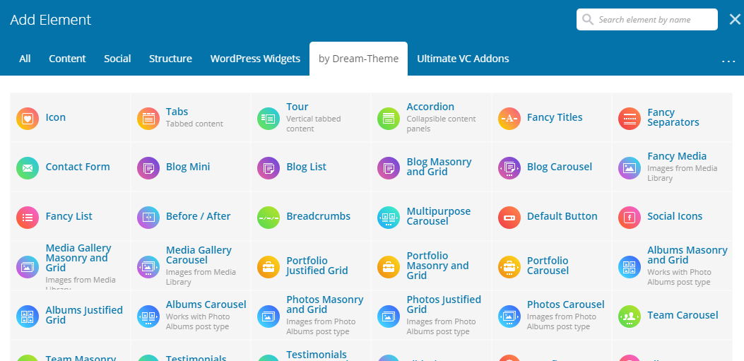 Fig. 4. WPBakery Page Builder elements by Dream-Theme.