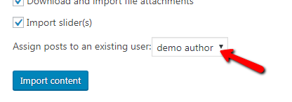 Fig. 3. Assigning temporary author for demo content.
